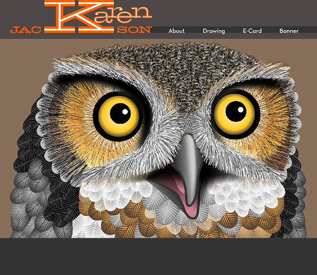 Flash portfolio site showing a owl drawing